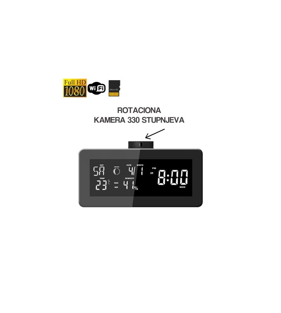 Full HD 1080p wifi kamera ugrađena u digitalnu radio budilicu